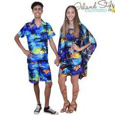 Mens Cabana Blue Sunset. Couple Set. Mens Hawaiian Shirt & Poncho. Fancy dress costume, Honeymoon, Luau or Cruisewear.