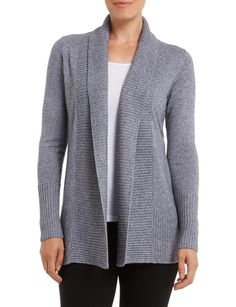 This classic grey cardigan is made for warmth, with its super soft cashmere blend. The luxurious style has a flattering drape ribbed front, hem and wide ribbing on the sleeves. An elegant weekend look with dark pants. Ribbed Cardigan, Grey Cardigan, Knitwear Fashion, Cashmere, Elegant, Dark, Stylish, Classic, Sleeves