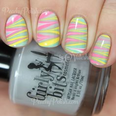 Pastel Spring Watermarble | Peachy Polish