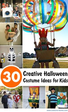 Image Source: Kids are always looking forward to Halloween – the time that they can wear their favorite costumes. However, if you're a parent with a kid who doesn't have a Halloween party costume … Holidays Halloween, Halloween Kids, Halloween Crafts, Happy Halloween, Halloween Decorations, Halloween Party, Halloween 2014, Most Creative Halloween Costumes, Homemade Halloween Costumes