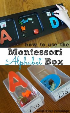 How to Teach Your Child to Read - how to use the montessori alphabet box - Wildflower Ramblings Give Your Child a Head Start, and.Pave the Way for a Bright, Successful Future. Montessori Preschool, Preschool Education, Preschool Letters, Preschool Kindergarten, Preschool Learning, Montessori Elementary, Elementary Education, Alphabet Activities, Literacy Activities