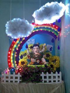 Ganpati Decoration Theme, Eco Friendly Ganpati Decoration, Mandir Decoration, Ganapati Decoration, Diwali Decorations At Home, Backdrop Decorations, Festival Decorations, Flower Decorations, Ganesh Chaturthi Decoration