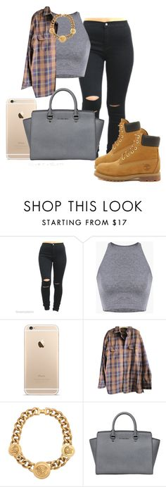 """Street Swag"" by takhya ❤ liked on Polyvore featuring Timberland, Versace and MICHAEL Michael Kors"