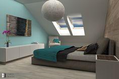 Projekt sypialni w mieszkaniu dwupoziomowym Niebuszewo, Szczecin, Zachodniopomorskie