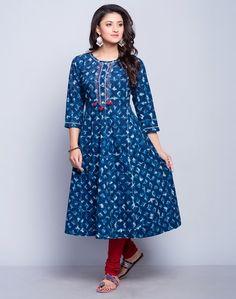 Cotton Cambric FabricAnarkali StyleDabu PrintedRound Neck3Q SleevesHand Wash Separately in Cold Water