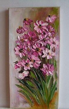 Rosa Margaritas Impresionismo impasto Original Pintura Al Óleo Flores Europa Artista in Arte, Directo del artista, Pinturas | eBay