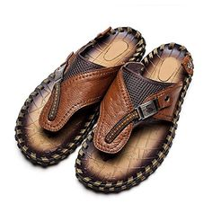 Autumn Melody Fashion Outdoor Casual Personalize Exquisite Handmade Genuine Leather Mens Sandals Size 85 US Brown *** Read more reviews of the product by visiting the link on the image.