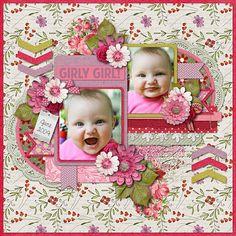 baby girl scrapbook layouts | Girly Girl - Scrapbook.com | Baby layouts : Girls