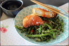 Steak de porc tonkatsu et haricots verts sautés au sésame. une recette…