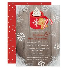 Hot Cocoa & Cookies Red Birthday Invitation Christmas Stationery, Christmas Party Invitations, Birthday Party Invitations, 10th Birthday, Birthday Parties, Wood Invitation, Cocoa Cookies, Gingerbread Man Cookies, Cocoa Chocolate