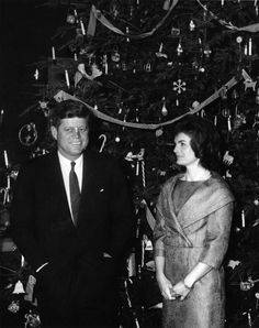 President Kennedy and First Lady Jacqueline Kennedy (JBK) at White House Christmas Tree, 5:30PM - John F. Kennedy Presidential Library & Museum
