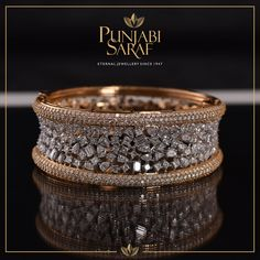 Diamond Jewelry Crafted with delicacy and precision, this stunning bracelet by Punjabi Saraf will stand out every time. Antique Jewelry, Diamond Jewelry, Silver Jewelry, Diamond Rings, Gold Bangles Design, Jewelry Design, Diamond Bracelets, Jewelry Bracelets, Silver Bracelets