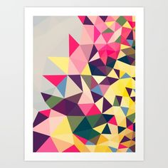 Colorful, geometric, abstract.