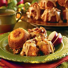 Caramel-Apple Muffins | Sautéed apple slices baked beneath the batter turn these special muffins into miniature apple upside-down cakes. The same recipe also makes two luscious loaves of apple bread – perfect for fall picnics and tailgating. | SouthernLiving.com