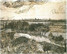View of Arles from a Hill by Vincent Van Gogh  Drawing, Pen  Arles: 29-May, 1888 http://www.vangoghgallery.com/catalog/Drawing/1687/View-of-Arles-from-a-Hill.html