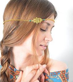 Hypnotique Jewish Hasma Hand of Fatima Turkish Jewelry Goldtone Head Chain Band * For more information, visit image link.(This is an Amazon affiliate link and I receive a commission for the sales)
