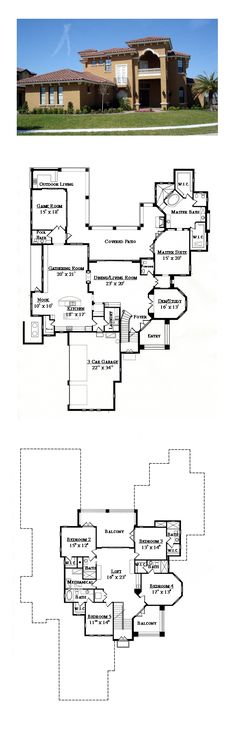 Italian House Plan 74235 | Total Living Area: 5220 Sq. Ft., 5