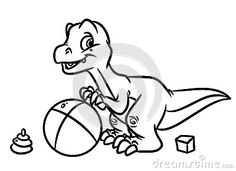 Dinosaur Play Ball Jurassic Period Coloring Pages Image Animal Character