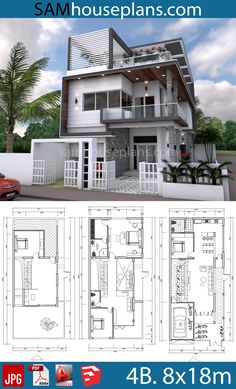 House Plans with 4 Bedrooms. This villa is modeling by SAM-ARCHITECT With 3 stories level. It's has 4 bedrooms.Sketchup 4 Bedrooms Home Design 3 Storey House Design, Bungalow House Design, House Front Design, Simple House Design, House Layout Plans, House Layouts, House Design Plans, Modern House Floor Plans, Modern Home Plans
