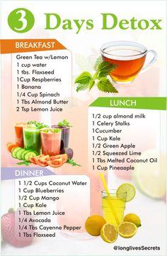 Juice Cleanse Plan, Green Tea Cleanse, Easy Detox Cleanse, Detox Diet Plan, Easy Diet Plan, Cleanse Diet, Cleanse Recipes, Healthy Detox, 3 Day Diet Plan