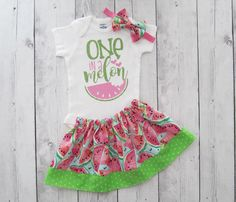 One in a Melon Birthday Outfit - Watermelon birthday, girl first birthday outfit, watermelon pink lime, first birthday dress, bow headband by noellebydesign on Etsy https://www.etsy.com/listing/528277883/one-in-a-melon-birthday-outfit