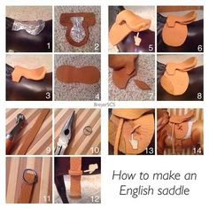 Instagram media breyerscs_tutorials - How to make an English saddle: . . 1. Cut out the tree using tin foil or a pop can. I used the tin foil since I didn't want to waste any pop. 2. Lay the tree on your leather outline, when you cut leave a little leather on the outside. 3. Cut and wrap the extra leather under the tree. Glue. 4. Cut out the flaps. 5. Cut out the flap shapes again, fold them hotdog style, and bend to make the panel underneath. Glue and cut extra leather. 6. Glue on your…