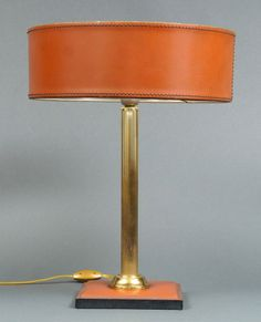 Jacques Adnet Leather and Brass Table Lamp with Leather Shade