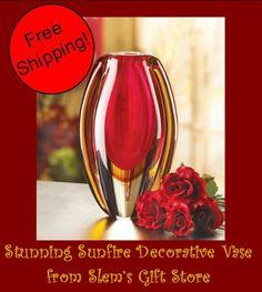 Sunflower Glass Flower Vase Red Gold Orange Floral Decorative Vases   http://stores.ebay.com/Slems-Gift-Store or order directly from me at dslem3@yahoo.com for 10% off your order! $29.95 free shipping