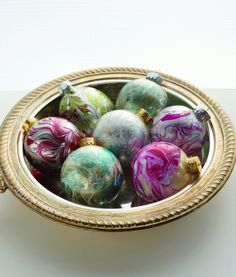 DIY Marbled Ornaments Tutorial from ARTFUL CHRISTMAS