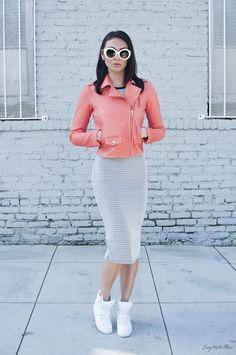 what-do-i-wear:  Theory Elenian Leather Jacket, Asos 3D Knit Dress, old (similarhereandhere), Mesh Wedge Sneakers (similarhere),Baroque Prada Sunglasses(image:sayhellomax)