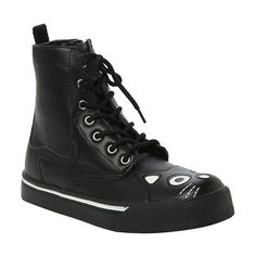 T.U.K. Black Kitty Sneaker Boot Hot Topic ($71) ❤ liked on Polyvore featuring shoes, boots, black combat boots, tall black boots, black lace up boots, army boots and lace up boots