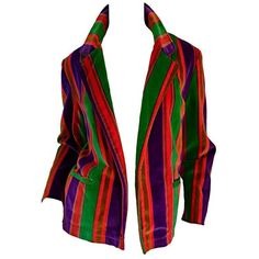 Preowned Wonderful Vintage I. Magnin 70s Rainbow Striped Velvet Blazer... ($595) ❤ liked on Polyvore featuring outerwear, jackets, blazers, black, velvet blazer, blazer jacket, belted blazer, pocket jacket and velvet jacket