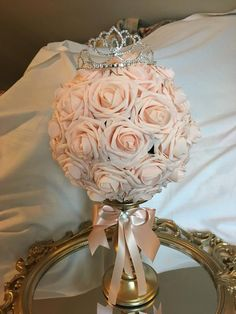 Heavenly furnished quinceanera party decorations find here Quince Centerpieces, Crown Centerpiece, Sweet 16 Centerpieces, Sweet 16 Decorations, Quinceanera Centerpieces, Quince Decorations, Table Centerpieces, Wedding Centerpieces, Quinceanera Planning