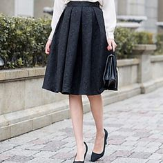 Women's Stylish Vintage Print Midi Skirt - USD $ 54.59