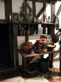 theinfill - Tudor to Jacobean Dolls house blog. Lovely kitchen corner.
