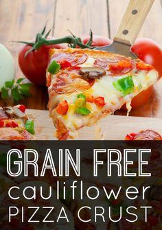 Grain Free Cauliflower Pizza Crust ~ http://healthpositiveinfo.com/grain-free-cauliflower-pizza-crust.html #grainfree #banting #LCHF