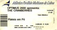 """Concerto: """"The Cranberries"""" - OPTIMUS 2000 Apresenta: The Cranberries @ Pavilhão Atlântico, Lisboa. Sexta-feira, 14 de Abril de 2000 ."""