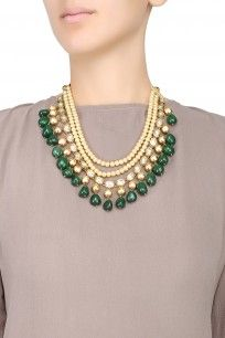 Gold Plated Golden Balls, Kundan and Emerald Stones Double String Necklace #necklace #gold #plated #jewellery #OSR #jewellers #shopnow #happyshopping