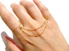cool Knuckle Rings, 14kt Gold Filled Chain, Slave Bracelet,14kt Gold Filled Ring Chai...