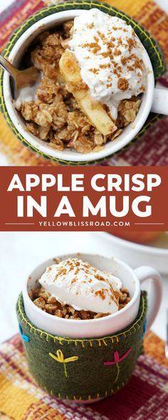 apple crisp recipe Easy Microwave Apple Crisp in a Mug is the perfect fall dessert. Its the perfect single-servings fall dessert with cinnamon apples & oatmeal crisp topping! Smores Dessert, Dessert In A Mug, Dessert Oreo, Appetizer Dessert, Fruit Appetizers, Simple Dessert, Dessert Blog, Desserts Nutella, Köstliche Desserts