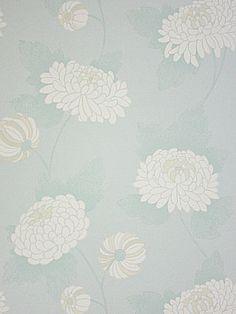 Osborne Little Tapete WILDE CHRYSANTHEMUM 5 tara wallpaper album 5 weiß auf hell grün blau türkis