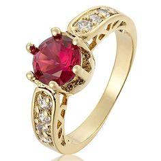 Riva Damen Ringe 18K Gold Vergoldet Rubin Farbe Edelstein…