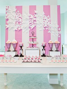 love the picture board of pink and white stripe background with paper cutout 3d butterflies
