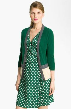 spotted dress + colorblock cardigan? loving this look!
