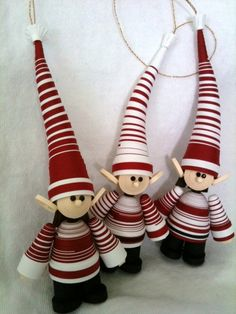 Elf Christmas Ornament Paper Quilled Set in Crimson Red CIJ Christmas in July, via Etsy.