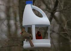 Bleach bottle bird feeder