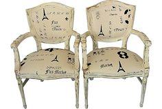 Shabby Chic Armchairs, Pair