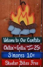welcome to our campfire WOODEN signs | welcome campsite sign 10 1 4 x 16 camping sign $ 21 95
