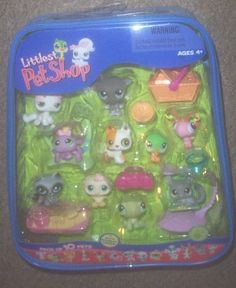 Littlest Pet Shop - 10 Pack of Pets by Hasbro. $77.97. Toy includes all contents EXACTLY as pictured. Set includes everything pictured in carrying case that features the PANDA TWINS!. Littlest Pet Shop Mega 10-Pack of Pets in Carry Case with Bonus 2 Pencil Toppers. UPC 653569156475. 10 Pack of Assorted Littlest Pet Shop Pets.