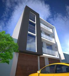 Modern apartment exterior design an online complete for Fachadas para departamentos pequenos